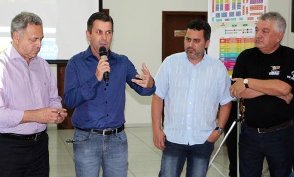 Carlos, Kurten, Piollla e Paulo, na solenidade de lançamento do festival (Foto Divulgação | Festival das Cataratas)