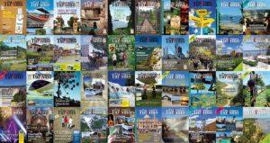 Mosaico com algumas capas da revista
